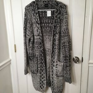 Cliche' Chunky Open Front Long Cardigan Sweater